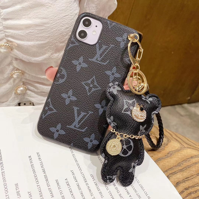 New Fashion Flower Pattern Phone Case With Bear Ornaments