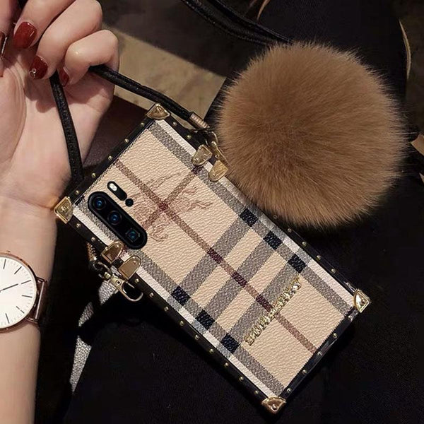 Tide Brand Square Leather Phone Case Fox Fur Ball Anti-fall Lanyard
