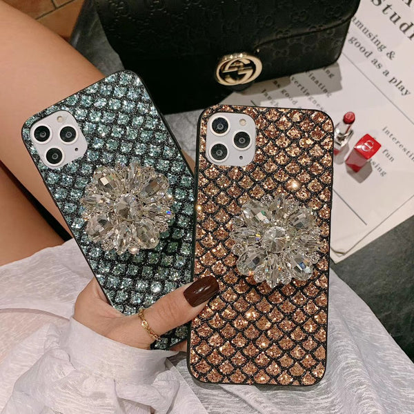 Luxury Mermaid Scale Pattern Gemstone Phone Case
