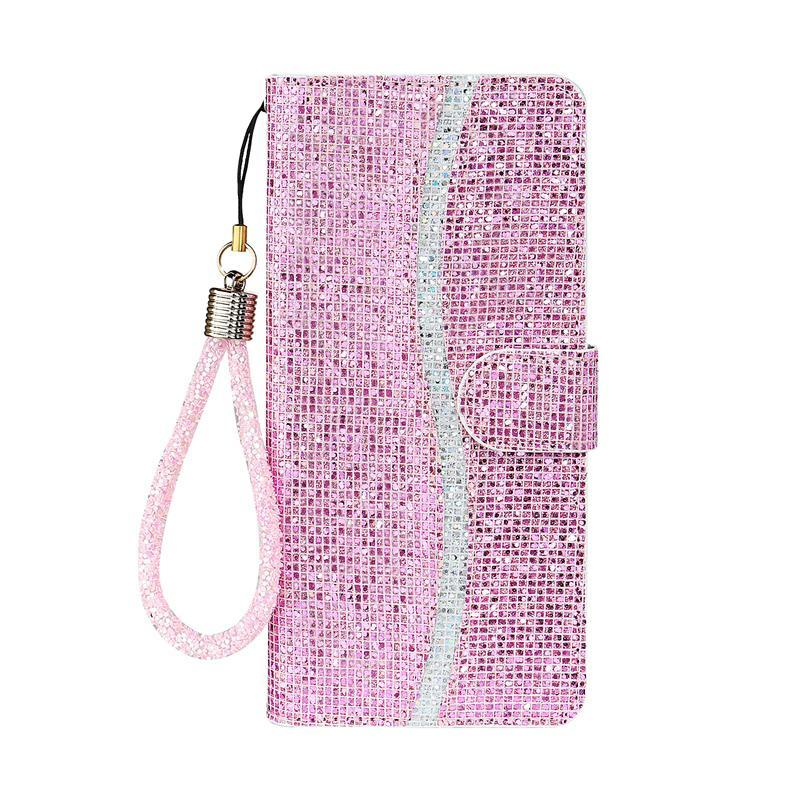 Card shiny wallet crystal wrist phone case