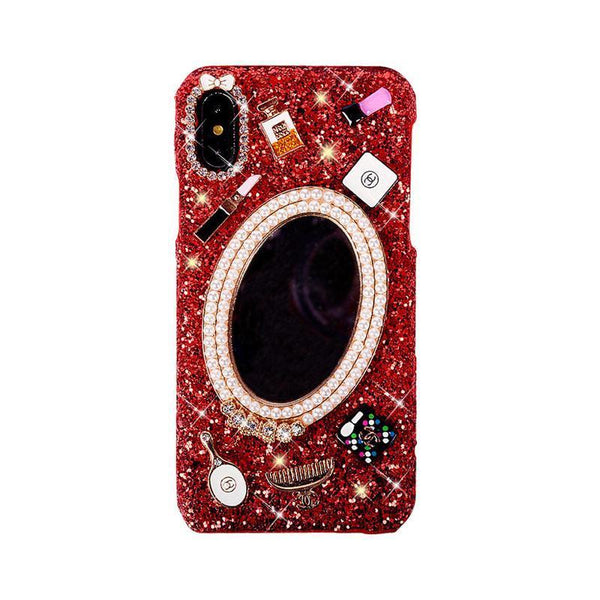 Red Mirror Rhinestones Case - jvcases