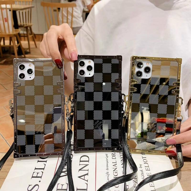 Lattice square phone case diagonally across mirror fashion