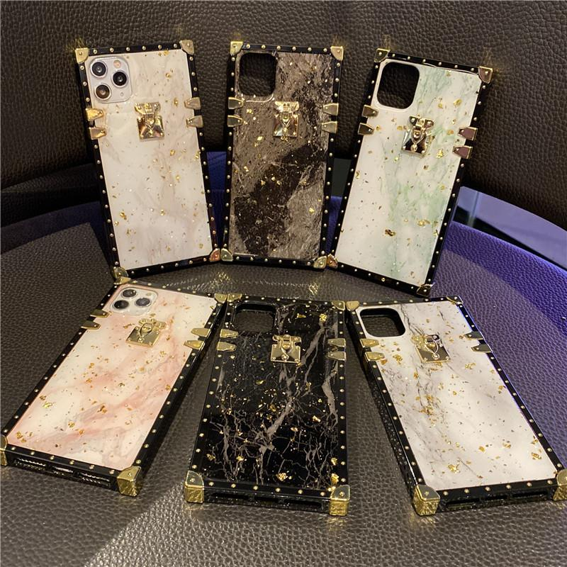 Cracked Marble Epoxy Rectangular Gold Foil Phone Case