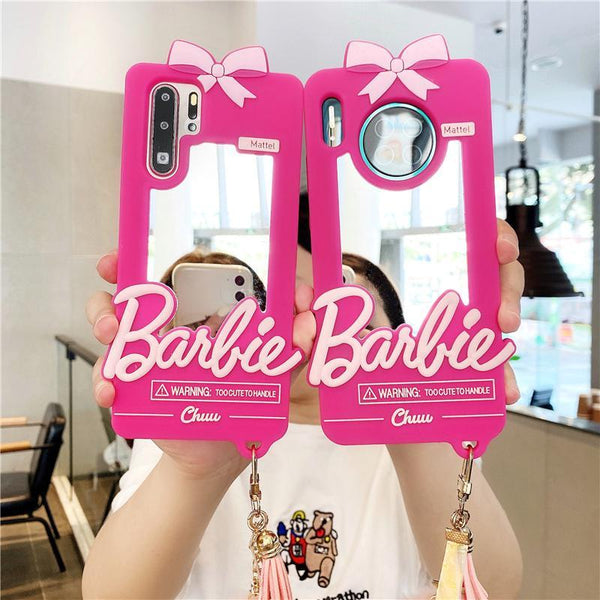 Cartoon makeup mirror phone case