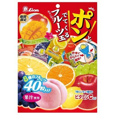 LION Confectionery Pon and Fruit Soda Candy 140g