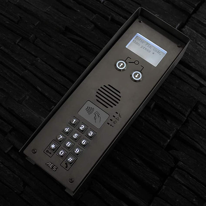 AES Multi Classic IMPK 4G GSM multi-apartment intercom with keyboard and prox reader, imperial finish