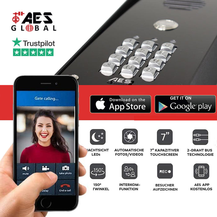 AES PRE2-4GE/FS | 1 Button GSM/4G Flush Video Entry Kit