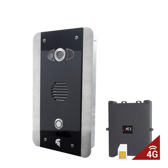 Prime6 FB-4G rustfrit stål med blank sort GSM KeyPad Intercom (EU) - AES Global