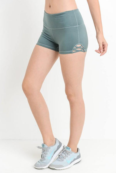 Teal Blue Criss Cross Athletic Shorts