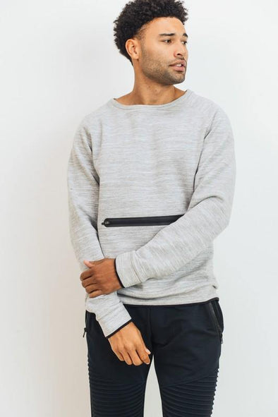 Melange Crew Neck Front Zipper Sweatshirt - Identity Boutique