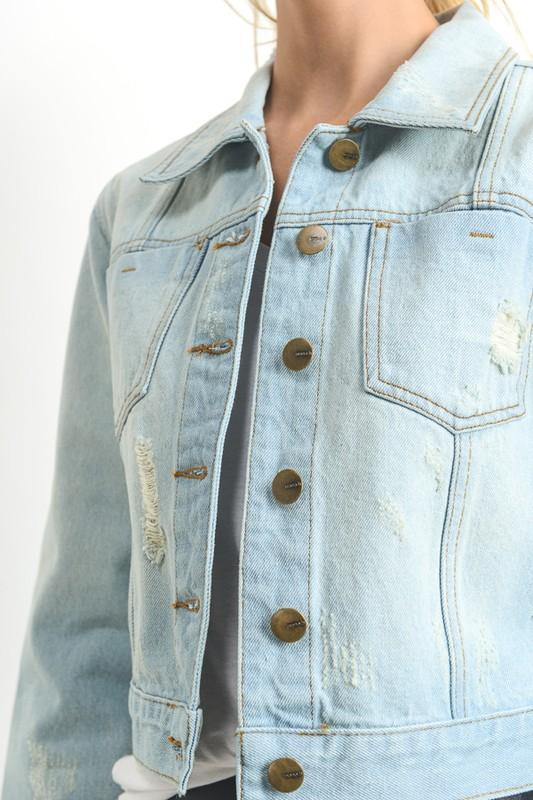 Light Wash Cropped Denim Jacket