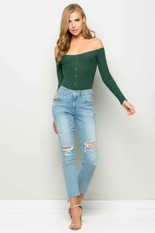 Dani Green Off Shoulder Ribbed Button Down Bodysuit