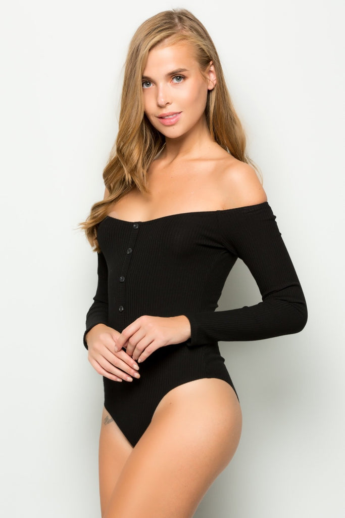 Dani Black Off Shoulder Ribbed Button Bodysuit