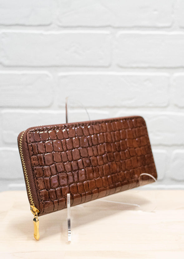 Faux Crocodile Skin Wallet