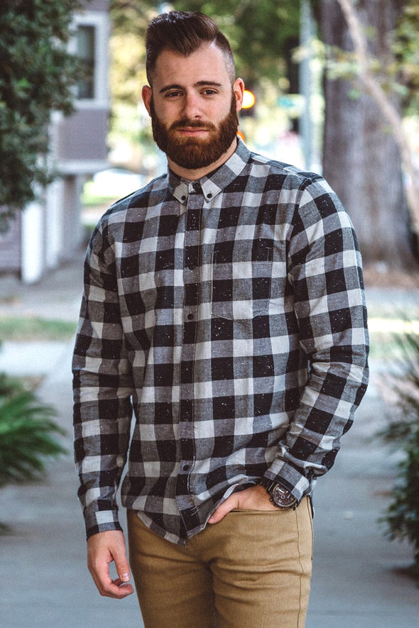 Grey Checked Splattered Flannel