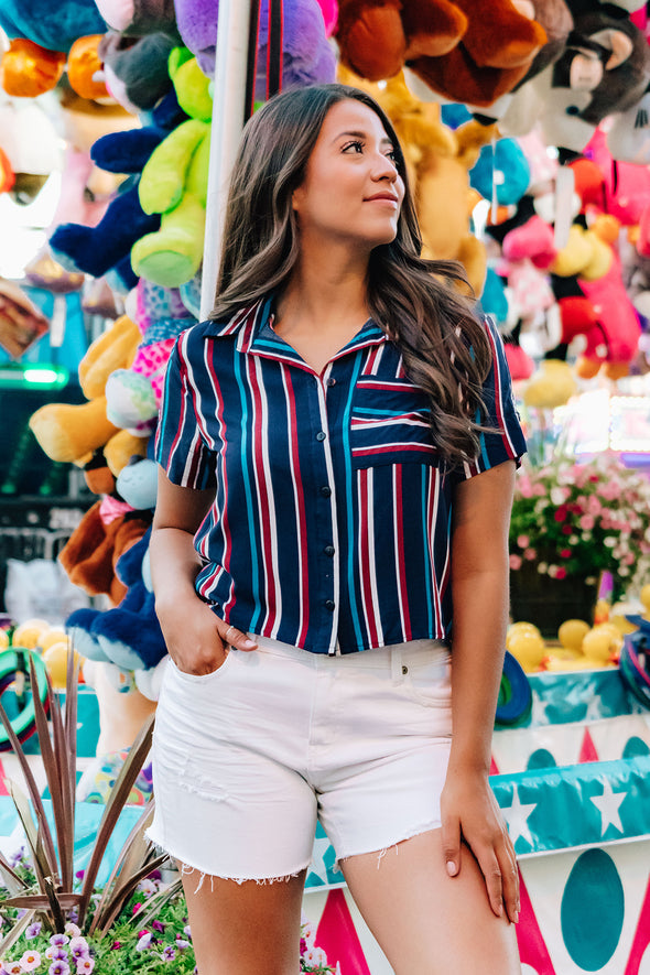 Independence Striped Button Down Top