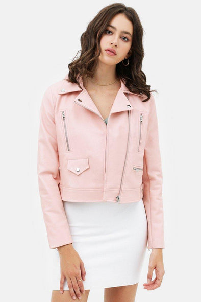 Frenchy Pink Faux Leather Moto Jacket