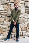 Olive Long Cut Crew Neck Sweater