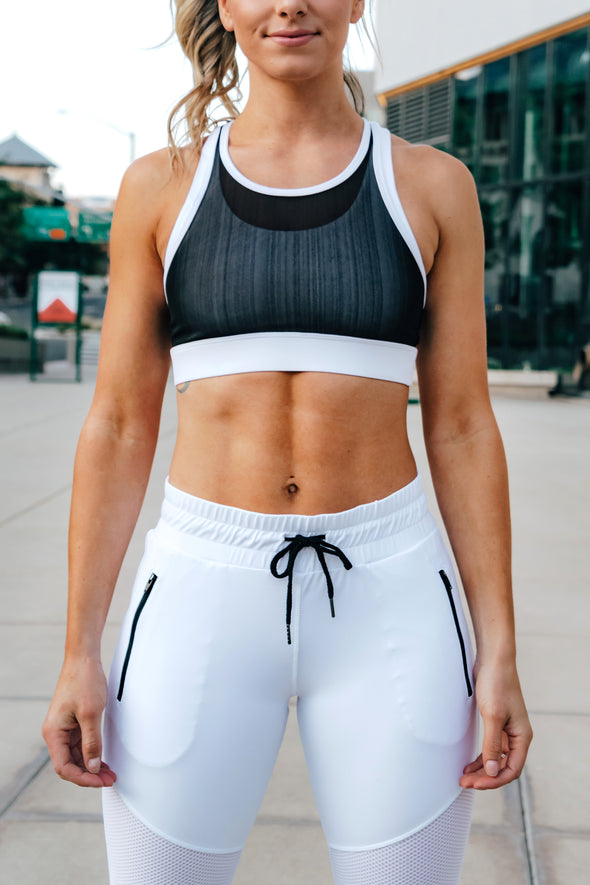 Charlotte White/Black Mesh Sports Bra