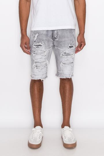 Grey Distressed Denim Shorts