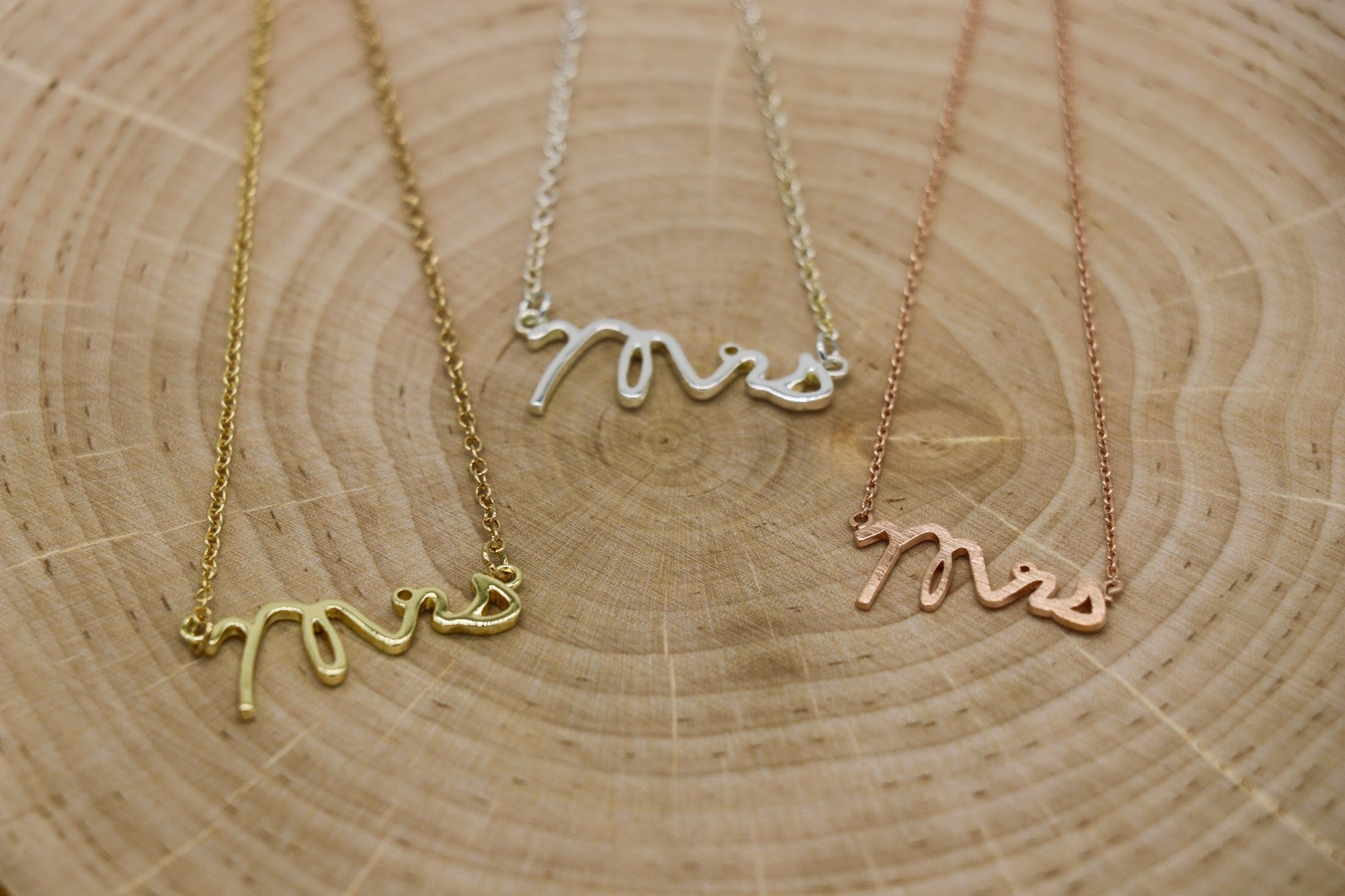 Mrs. Plain Script Charm Necklace