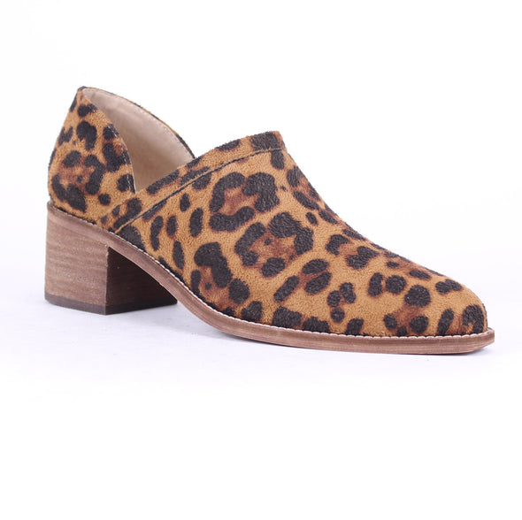 Clay Leopard Print Low Heel Booties