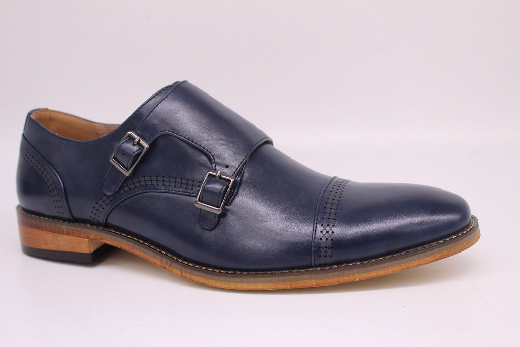 Navy Monk Strap Shoes