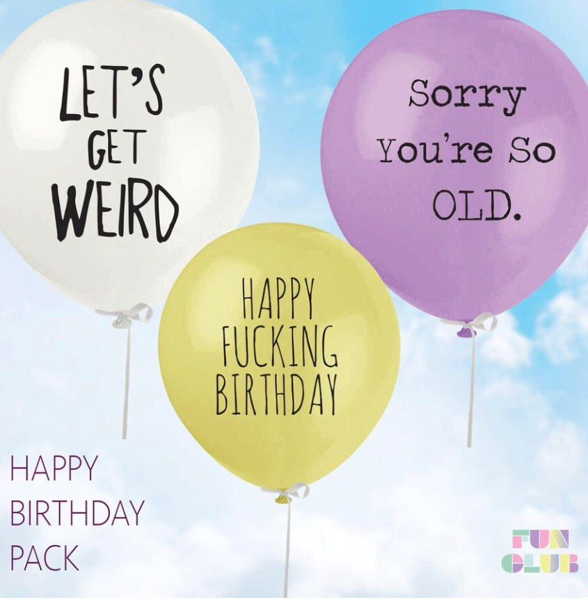 Happy F**king Birthday Balloon Pack (Pack Of 3)