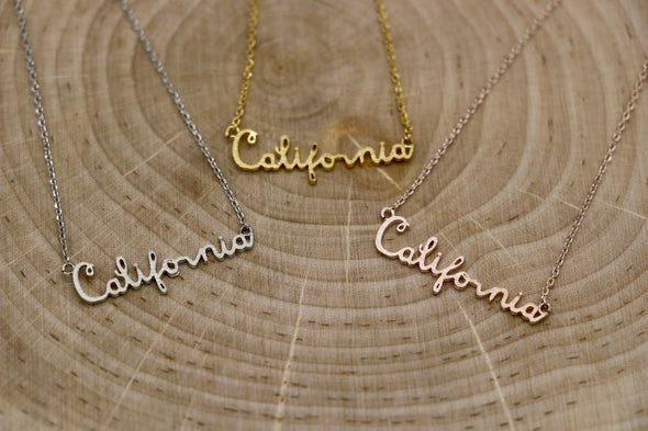 California Script Charm Necklace