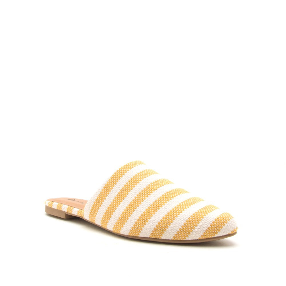 Swirl Yellow/Beige Knit Mule Slides