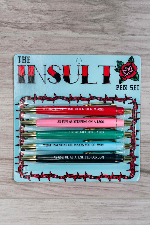 Insult Pen Set (Pack Of 5)