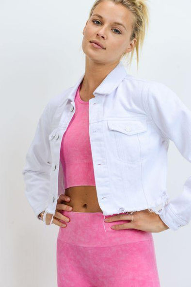 White Raw Edge Cropped Denim Jacket - Identity Boutique