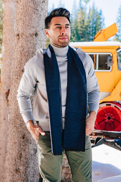 Navy Reversible Scarf