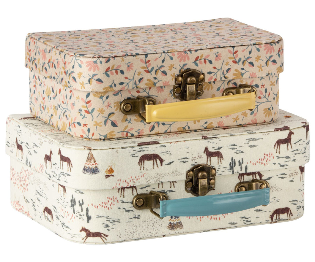 Two Fabric Covered Suitcase