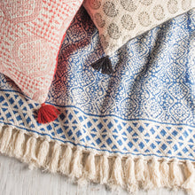 Load image into Gallery viewer, Blockprint Throw With Tassels