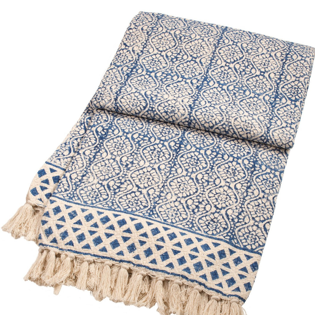 Blockprint Throw With Tassels