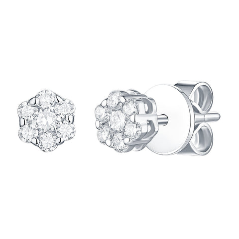 lab created diamond flower white gold diamond stud earrings with pin back