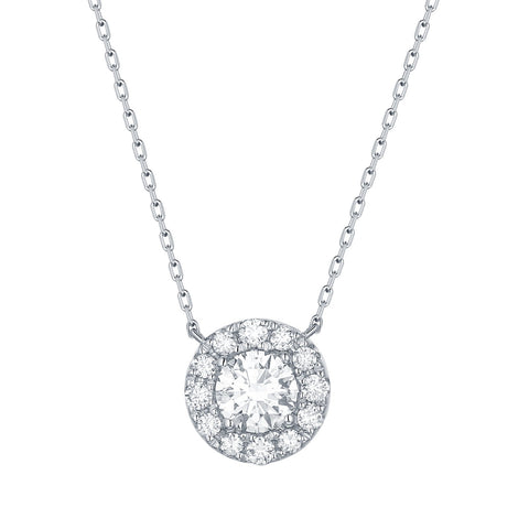lab created diamond halo necklace on chain white gold