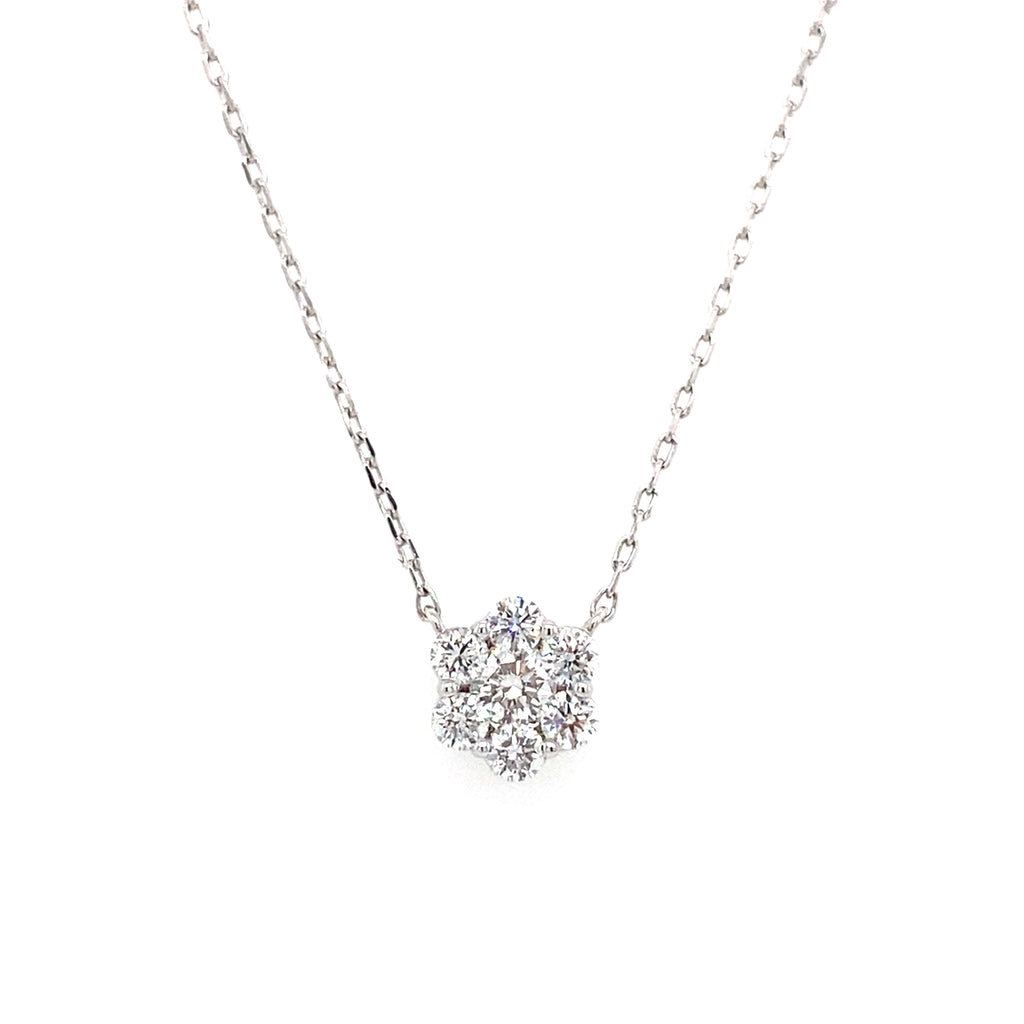 14k round lab grown diamond flower pendant necklace with a white gold chain 0.49ct -vena nova