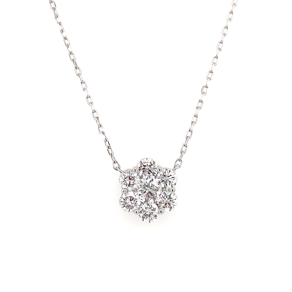 14k white gold lab created diamond flower necklace 0.97ct on a chain