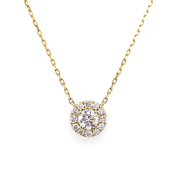 14k yellow gold lab created diamond halo necklace on a yellow gold chain 0.52ct by vena nova