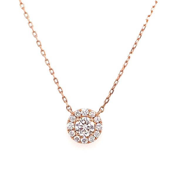 14k lab created diamond halo necklace on a rose gold chain 0.54ct by vena nova