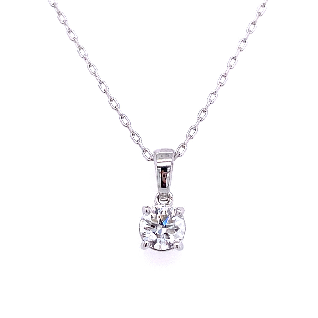 14k diamond round solitaire necklace lab grown diamond on a white gold chain with clasp 0.50ct by vena nova
