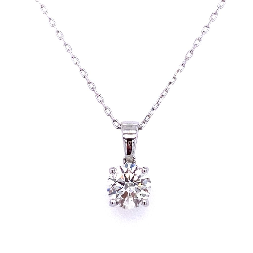 14k diamond round solitaire necklace lab grown diamond on a white gold chain with clasp 1.09ct by vena nova