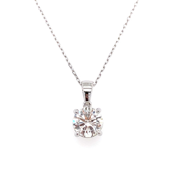 14k round lab grown diamond solitaire pendant necklace with a white gold chain 2.00ct -vena nova