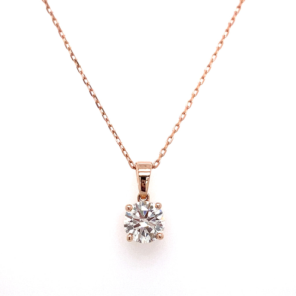 14k round lab grown diamond solitaire pendant necklace with a rose gold chain 1.09ct -vena nova