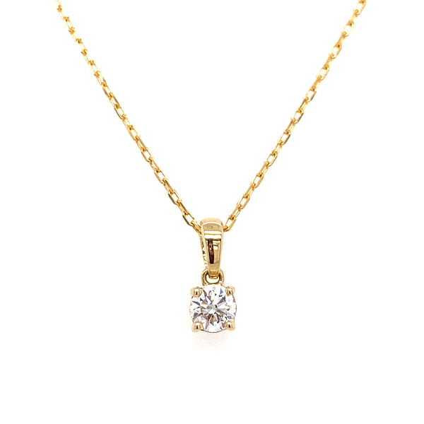 14k round lab grown diamond solitaire pendant necklace with a yellow gold chain 0.26ct -vena nova