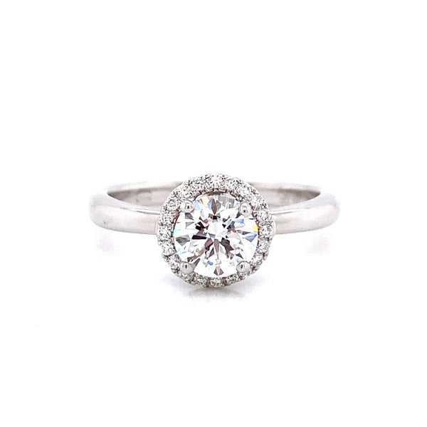 Diamond Halo Ring in 18k White Gold made with lab created diamonds from Vena Nova