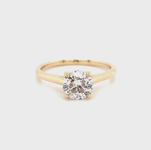 Lab Created Diamond Vena Nova Diamond Solitaire Ring- 14k Yellow Gold 1.02ct