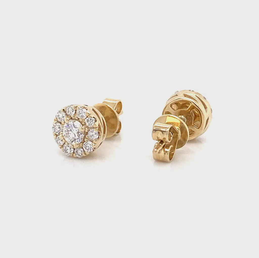 halo earrings in 14k yellow gold in 0.74ct made by vena nova lab created diamonds